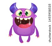 funny cute cartoon monster... | Shutterstock . vector #1455958535
