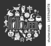 halloween set. pumpkin and... | Shutterstock .eps vector #1455968978