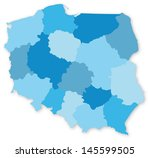 blue vector map of poland with... | Shutterstock .eps vector #145599505