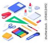isometric office supplies.... | Shutterstock .eps vector #1456013492