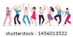 happy dancing people. friends... | Shutterstock .eps vector #1456013522