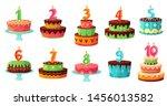 cartoon birthday cake numbers... | Shutterstock .eps vector #1456013582