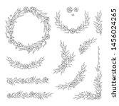 floral black and white frame... | Shutterstock .eps vector #1456024265