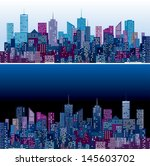city skylines in two purple and ... | Shutterstock .eps vector #145603702