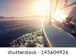 Sailing Boat On On Ocean Water...