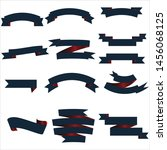 navy blue and red ribbon set... | Shutterstock .eps vector #1456068125