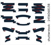 navy blue and red ribbon set... | Shutterstock .eps vector #1456068158