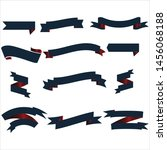 navy blue and red ribbon set... | Shutterstock .eps vector #1456068188