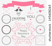 vector set of valentine's day... | Shutterstock .eps vector #145608265