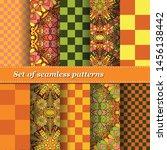 set of trendy seamless floral... | Shutterstock .eps vector #1456138442