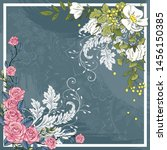 floral abstract with brush for... | Shutterstock .eps vector #1456150385
