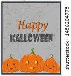 halloween greeting card. vector ... | Shutterstock .eps vector #1456204775
