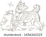 dog with luggage and ribbon in... | Shutterstock .eps vector #1456262225