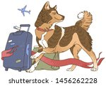 dog with luggage and ribbon in... | Shutterstock .eps vector #1456262228