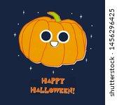 cute pumpkin with big eyes hand ... | Shutterstock .eps vector #1456296425