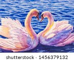 Two White Swans On A Lake....