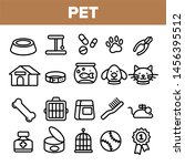 Stock photo pet line icon set animal care grooming pet symbol dog cat veterinar shop icon thin outline 1456395512
