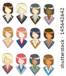 set of businesswoman facial art ... | Shutterstock .eps vector #145642642