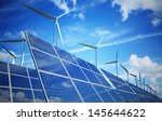 wind turbines and solar panels. ... | Shutterstock . vector #145644622