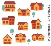 seamless house pattern | Shutterstock .eps vector #145648262