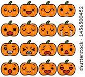 set of emoji halloween pumpkin... | Shutterstock .eps vector #1456500452