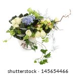 Flower composition of white roses, ivy and orchids, isolated image on a white background. Bouquet of decorative Flowers. Floral arrangement  - stock photo