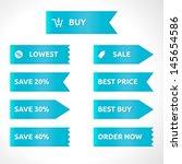 ribbon sale color blue   vector ... | Shutterstock .eps vector #145654586
