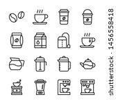 coffee vector line icons set.... | Shutterstock .eps vector #1456558418