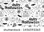 hand drawn seamless pattern ... | Shutterstock .eps vector #1456593365