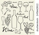 wine   grapes icons doodle... | Shutterstock .eps vector #145662812