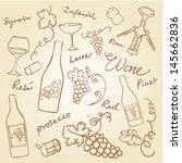 wine   grapes icons doodle... | Shutterstock .eps vector #145662836