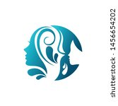 beauty face and leaf logo...   Shutterstock .eps vector #1456654202