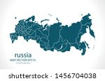 russia map high detailed on... | Shutterstock .eps vector #1456704038