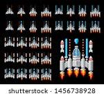 space ship 8 bit pixel art... | Shutterstock .eps vector #1456738928