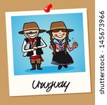 Uruguayan man and woman cartoon couple in vintage instant photo frame. Vector illustration layered for easy editing. - stock vector