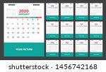calendar for 2020 green and red ... | Shutterstock .eps vector #1456742168