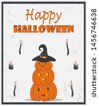 halloween greeting card. vector ... | Shutterstock .eps vector #1456746638