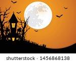 halloween background decorated... | Shutterstock .eps vector #1456868138