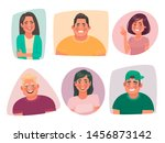 set of portraits of young happy ... | Shutterstock .eps vector #1456873142