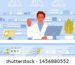 pharmacist shows a greeting... | Shutterstock .eps vector #1456880552