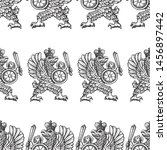 seamless pattern of drawn... | Shutterstock .eps vector #1456897442