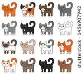 various cats seamless pattern.... | Shutterstock .eps vector #1456907942