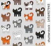 various cats seamless pattern.... | Shutterstock .eps vector #1456907945