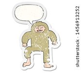 Stock photo cartoon bigfoot with speech bubble distressed distressed old sticker 1456913252