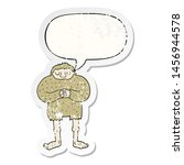 Stock photo cartoon bigfoot with speech bubble distressed distressed old sticker 1456944578