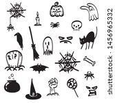 set of halloween doodle object  ... | Shutterstock .eps vector #1456965332