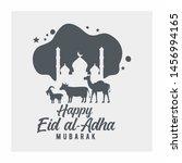 eid al adha mubarak with animal ...   Shutterstock .eps vector #1456994165