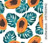 Papaya Fruits Seamless Pattern...