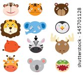cute animal heads set | Shutterstock .eps vector #145701128
