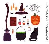 halloween items set isolated on ... | Shutterstock .eps vector #1457016728